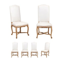 Set of Six French Louis XV Style Dining Room Side Chairs with Carved Foliage