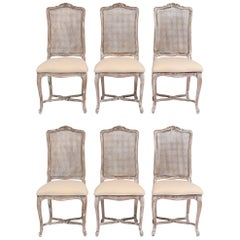 Set of Six French Louis XV Style Painted Dining Chairs