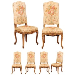 Set of Six French Louis XV Style Painted Dining Room Chairs with Floral Fabric