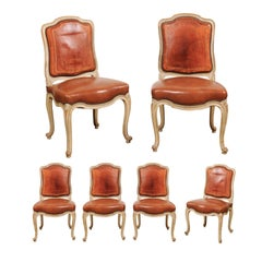 Set of Six French Louis XV Style Shield-Back Dining Chairs with Brown Leather