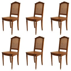 Set of Six French Louis XVI Style '19th-20th Century Walnut Side Chairs