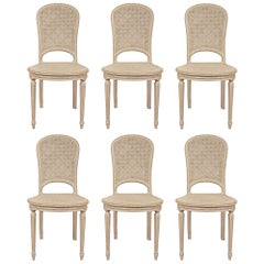Set of Six French Louis XVI Style Caned Chairs, with All Original Patina