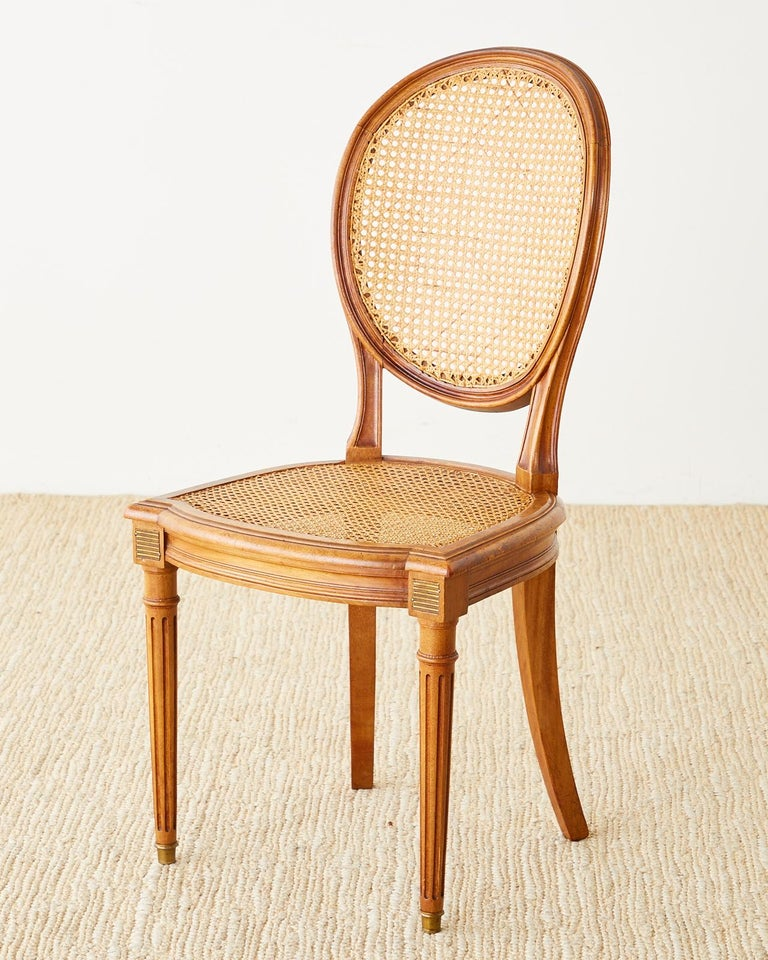 Set of Six French Louis XVI Style Caned Dining Chairs For Sale 4