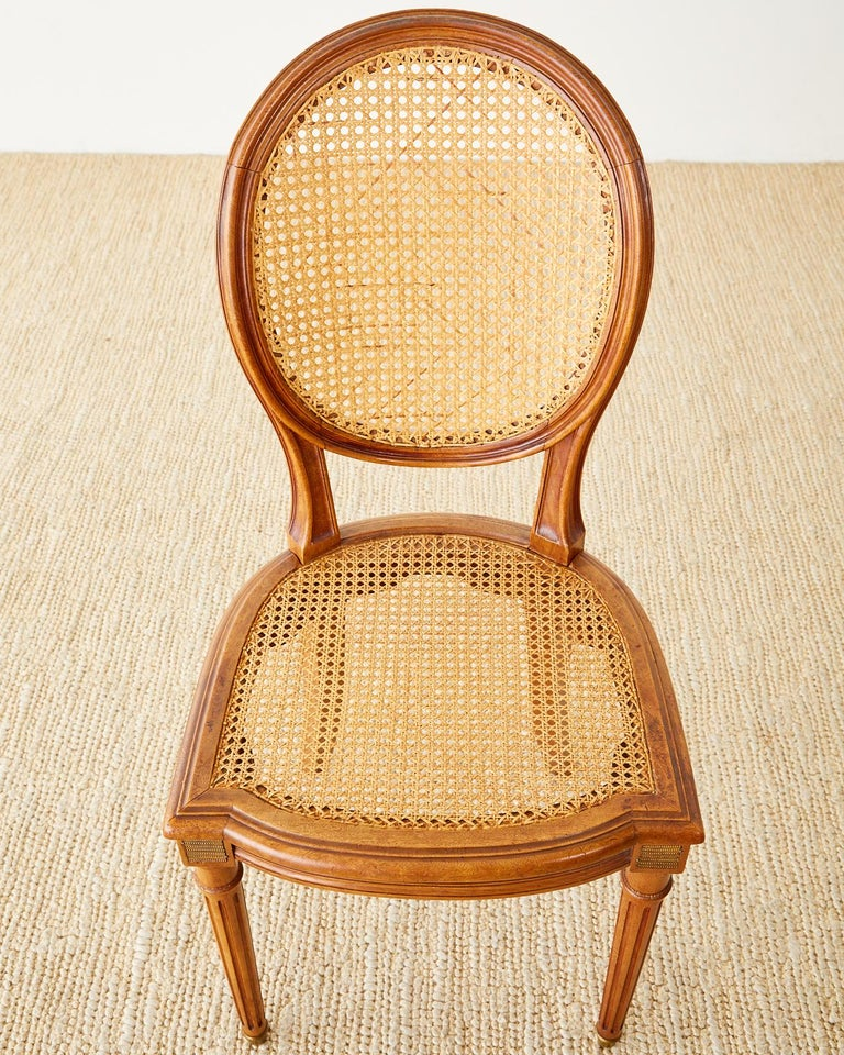 Set of Six French Louis XVI Style Caned Dining Chairs For Sale 5