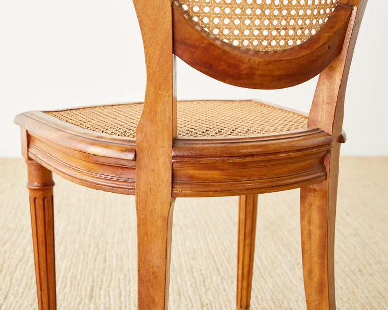 Set of Six French Louis XVI Style Caned Dining Chairs For Sale 13