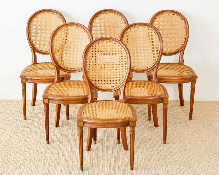 Hand-Crafted Set of Six French Louis XVI Style Caned Dining Chairs For Sale