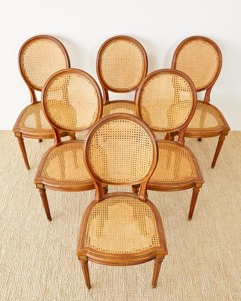 Set of Six French Louis XVI Style Caned Dining Chairs In Good Condition For Sale In Oakland, CA