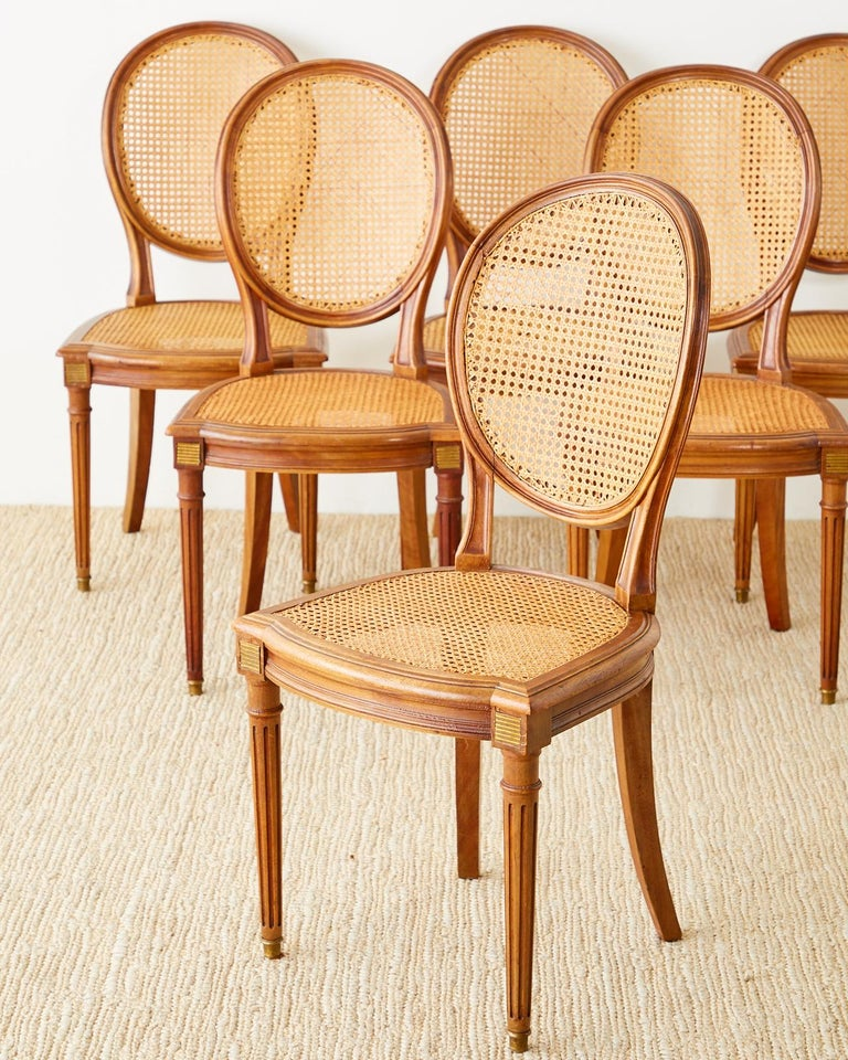 20th Century Set of Six French Louis XVI Style Caned Dining Chairs For Sale