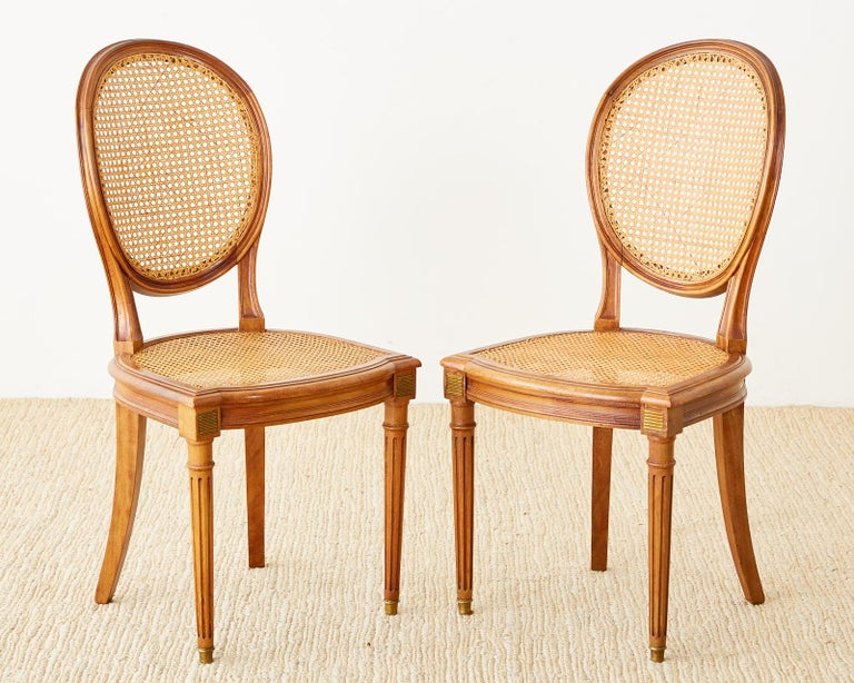Bronze Set of Six French Louis XVI Style Caned Dining Chairs For Sale
