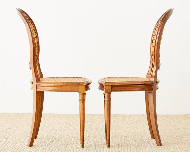 Set of Six French Louis XVI Style Caned Dining Chairs For Sale 1