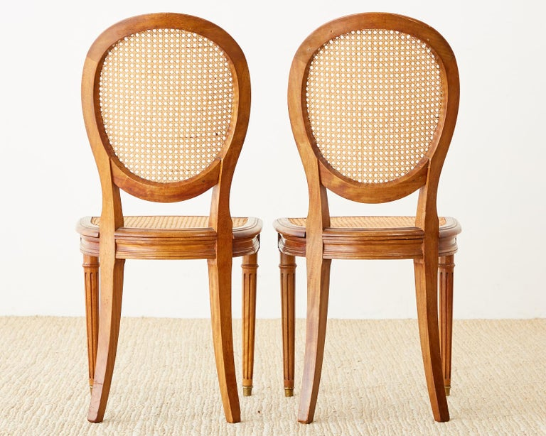 Set of Six French Louis XVI Style Caned Dining Chairs For Sale 2