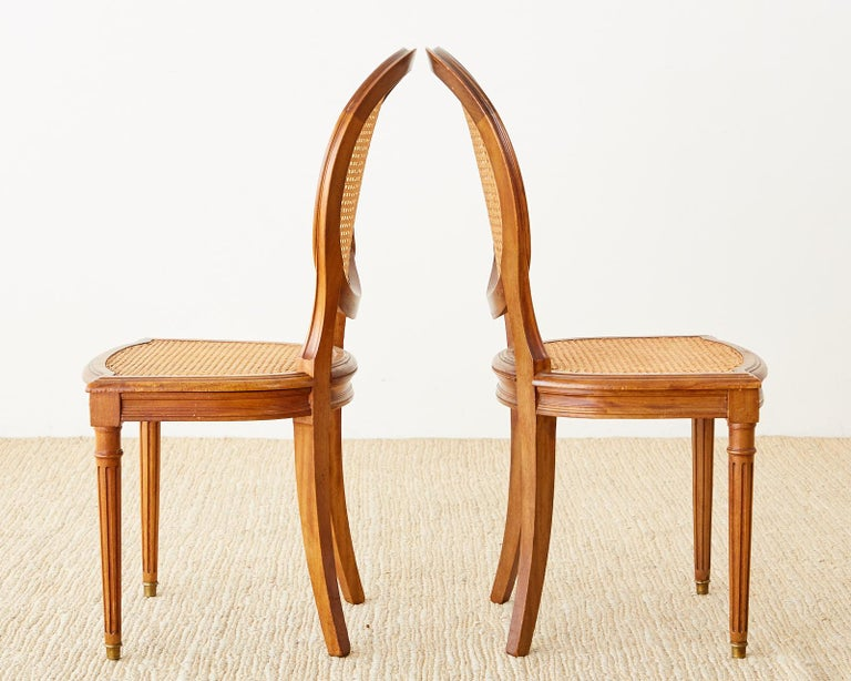 Set of Six French Louis XVI Style Caned Dining Chairs For Sale 3