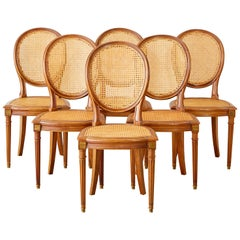 Set of Six French Louis XVI Style Caned Dining Chairs