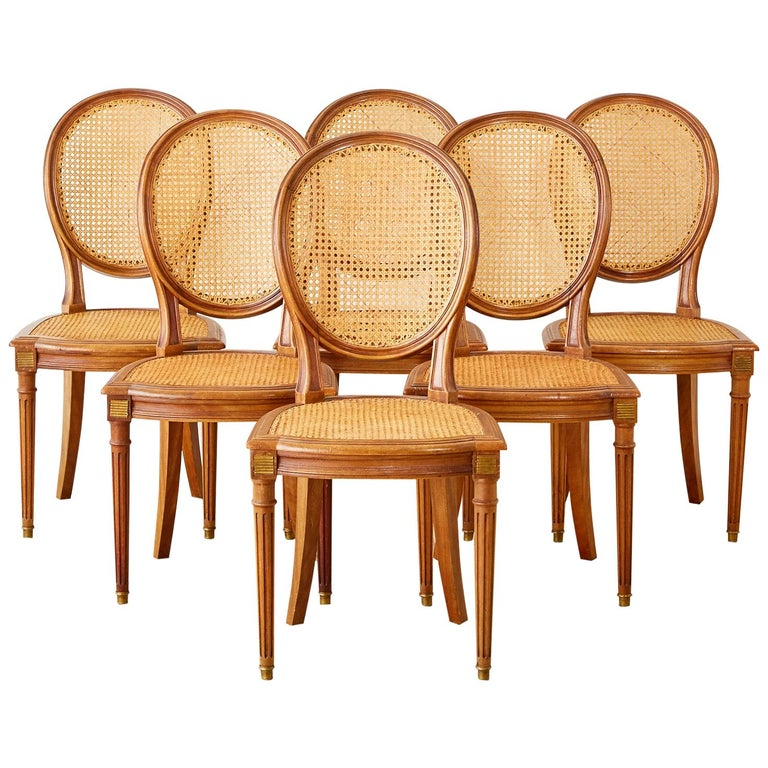 Set of Six French Louis XVI Style Caned Dining Chairs For Sale