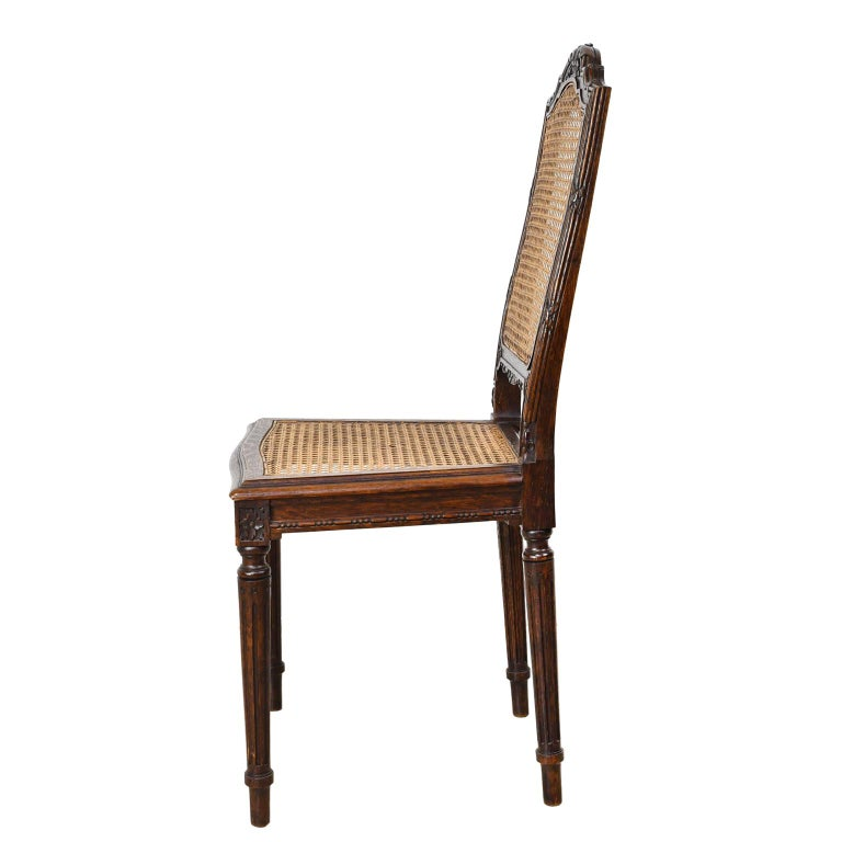 Late 19th Century Set of Six Louis XVI Style Chairs in Oak w/ Woven Cane Seat & Back, c 1880 For Sale