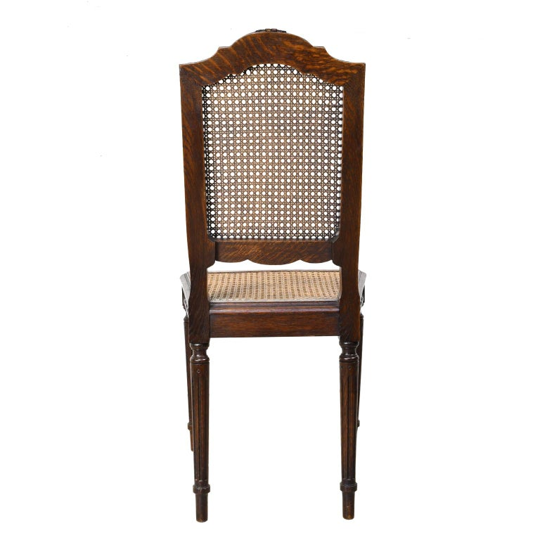 Set of Six Louis XVI Style Chairs in Oak w/ Woven Cane Seat & Back, c 1880 For Sale 2