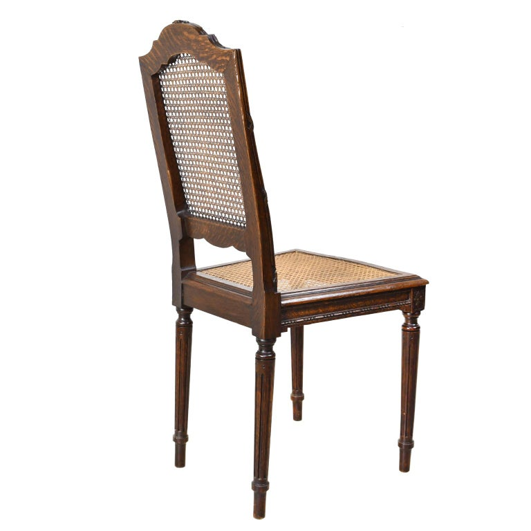 Set of Six Louis XVI Style Chairs in Oak w/ Woven Cane Seat & Back, c 1880 For Sale 3
