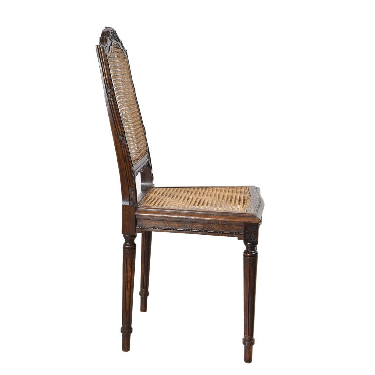 Set of Six Louis XVI Style Chairs in Oak w/ Woven Cane Seat & Back, c 1880 For Sale 4