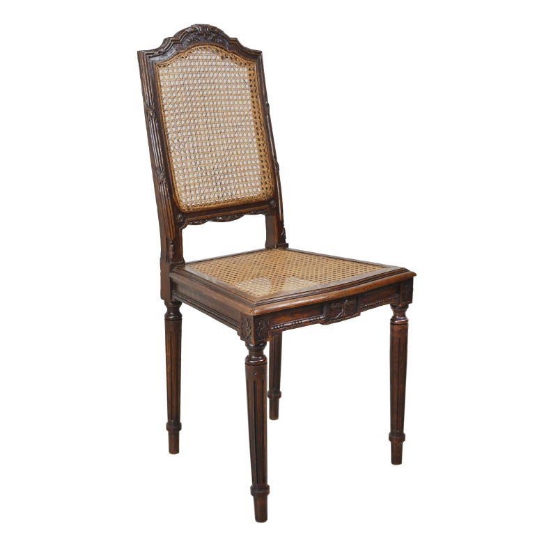 Set of Six Louis XVI Style Chairs in Oak w/ Woven Cane Seat & Back, c 1880 For Sale 5