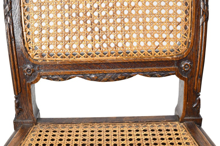 Set of Six Louis XVI Style Chairs in Oak w/ Woven Cane Seat & Back, c 1880 For Sale 9