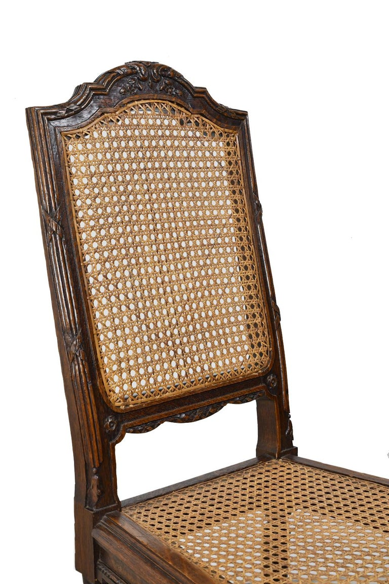 Set of Six Louis XVI Style Chairs in Oak w/ Woven Cane Seat & Back, c 1880 For Sale 6