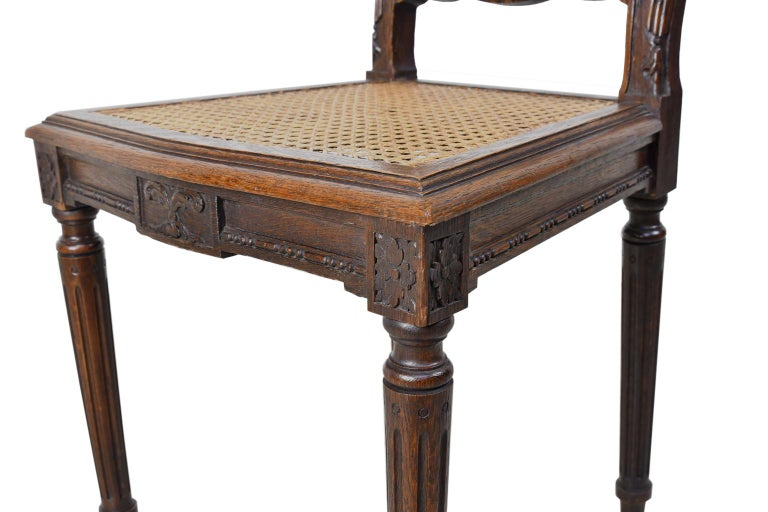 Set of Six Louis XVI Style Chairs in Oak w/ Woven Cane Seat & Back, c 1880 For Sale 11