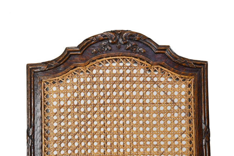 Set of Six Louis XVI Style Chairs in Oak w/ Woven Cane Seat & Back, c 1880 For Sale 8