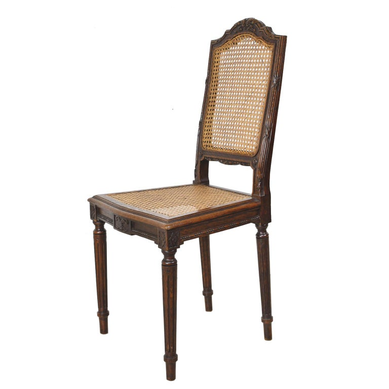 Set of Six Louis XVI Style Chairs in Oak w/ Woven Cane Seat & Back, c 1880 In Good Condition For Sale In Miami, FL