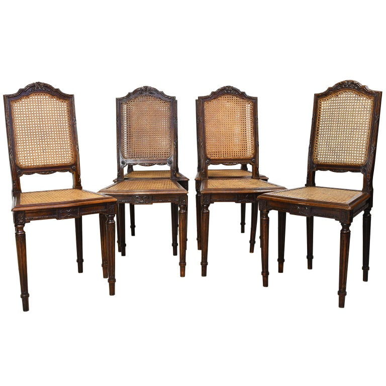French Set of Six Louis XVI Style Chairs in Oak w/ Woven Cane Seat & Back, c 1880 For Sale