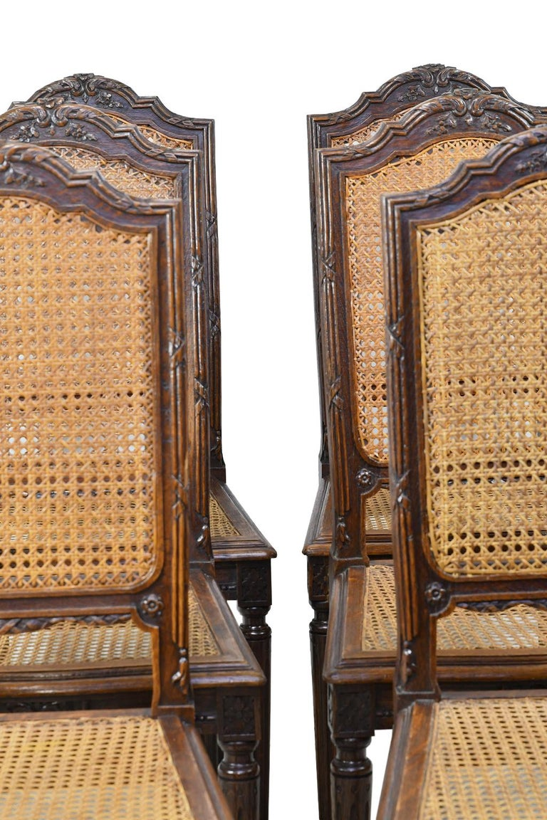 A beautiful set of six dining chairs in the Louis XVI style with woven cane seat and back, with carved crest on arched back, and resting on turned and reeded legs. France or Belgium, circa 1880. Caning is in very good condition, and chairs are
