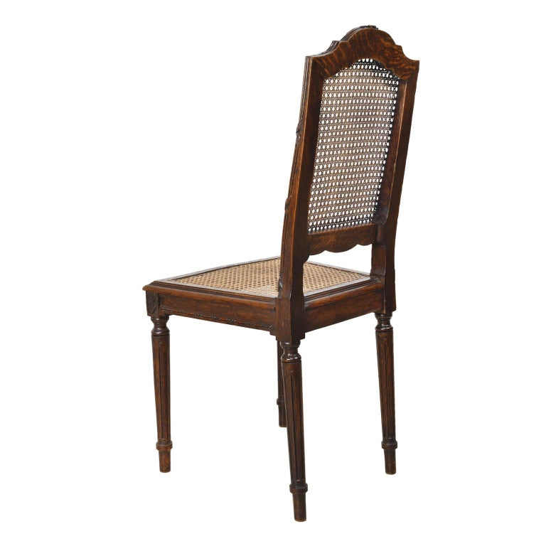 Set of Six Louis XVI Style Chairs in Oak w/ Woven Cane Seat & Back, c 1880 For Sale 1