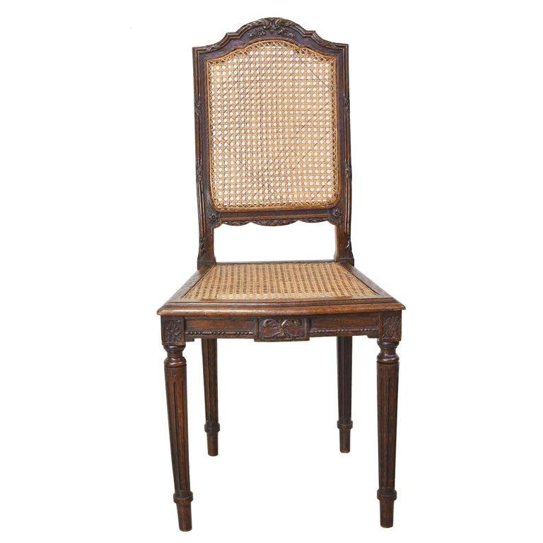 Set of Six Louis XVI Style Chairs in Oak w/ Woven Cane ...