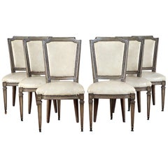 Set of Six French Louis XVI Style Leather-Upholstered Dining Chairs