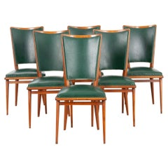 Set of Six French Mid-Century Modern Chairs