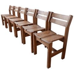 Set of Six French Midcentury Wooden Dining Chairs for Les Arcs