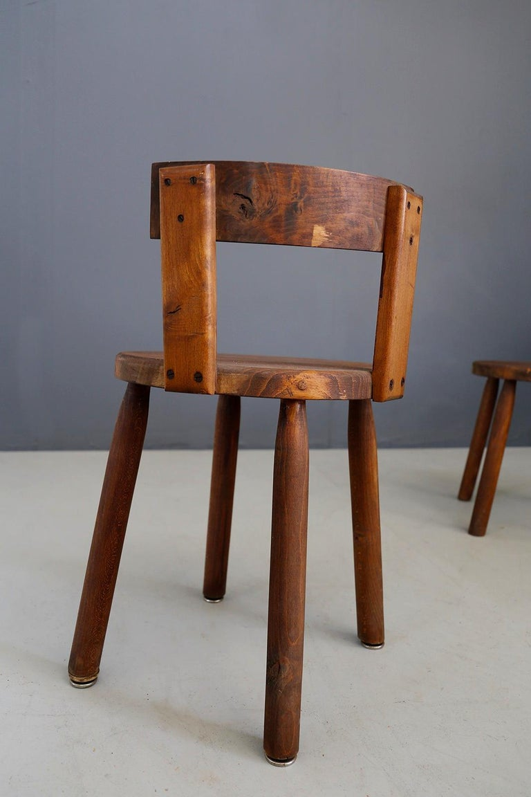 Set of Six French Midcentury Chair, in Wood of 1950s For Sale 5