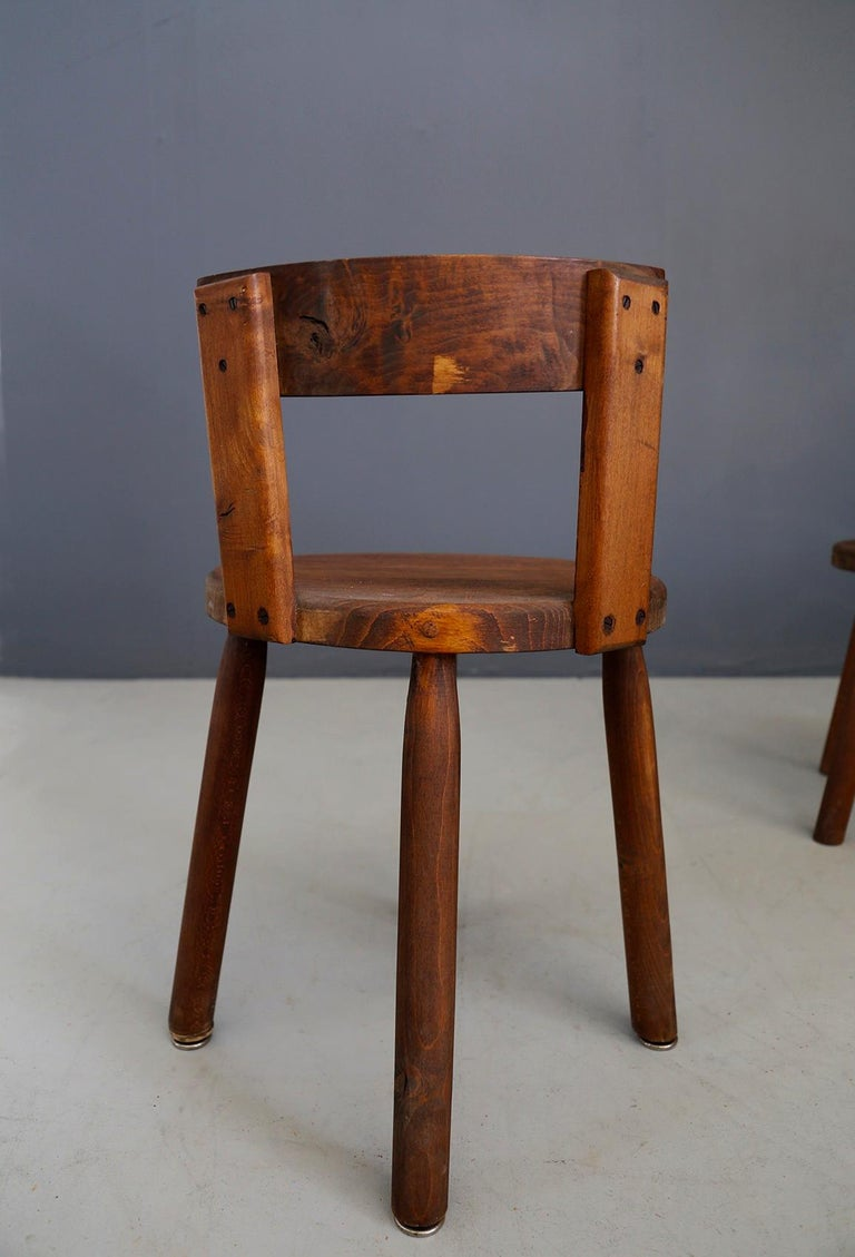 Set of Six French Midcentury Chair, in Wood of 1950s For Sale 6