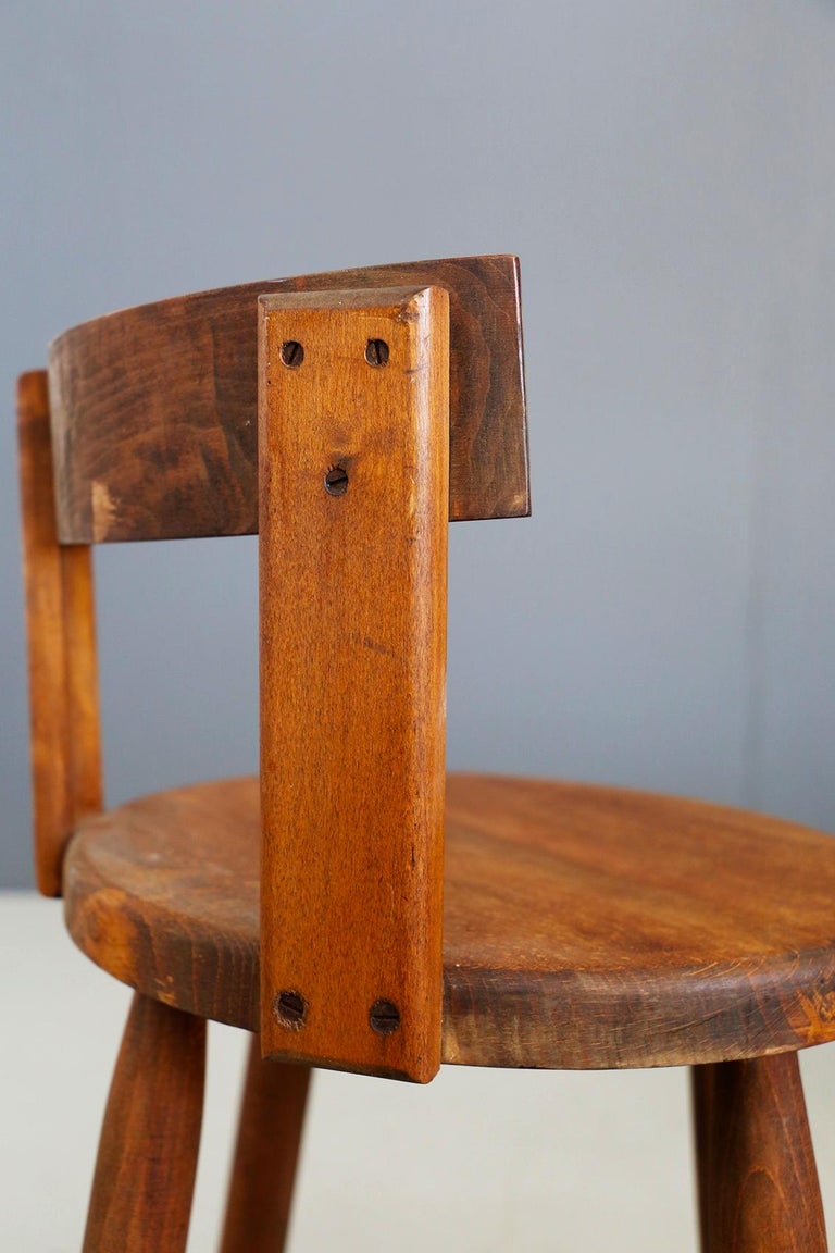 Set of Six French Midcentury Chair, in Wood of 1950s For Sale 8