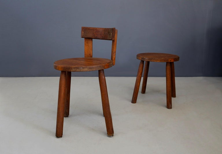 Set of Six French Midcentury Chair, in Wood of 1950s For Sale 9