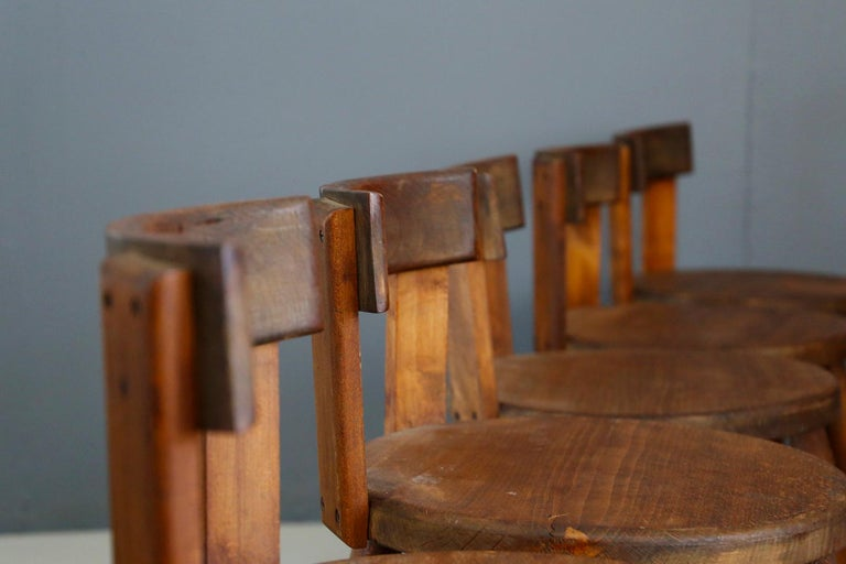 Set of Six French Midcentury Chair, in Wood of 1950s For Sale 10