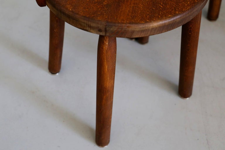 Set of Six French Midcentury Chair, in Wood of 1950s For Sale 11