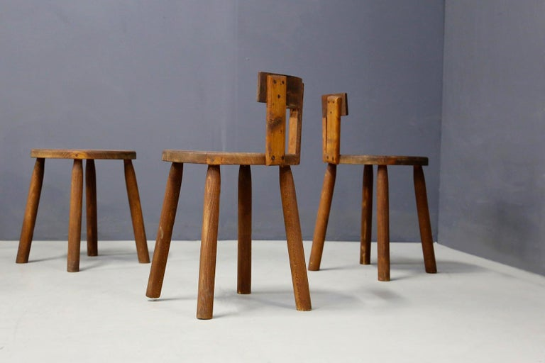 Set of Six French Midcentury Chair, in Wood of 1950s In Good Condition For Sale In Milano, IT
