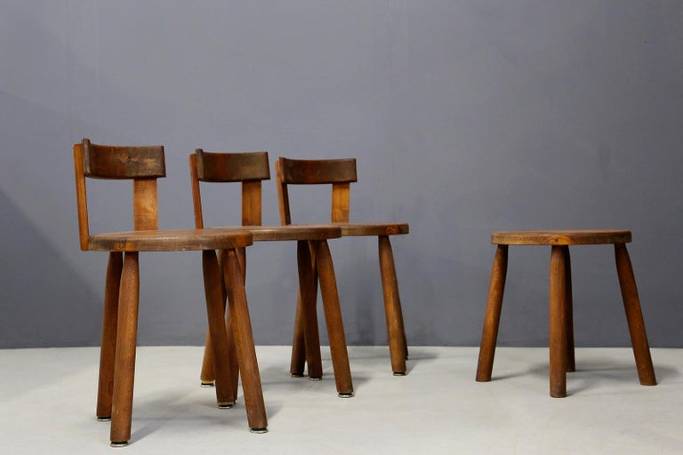 Mid-20th Century Set of Six French Midcentury Chair, in Wood of 1950s For Sale