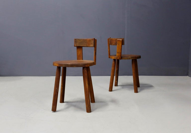 Set of Six French Midcentury Chair, in Wood of 1950s For Sale 1