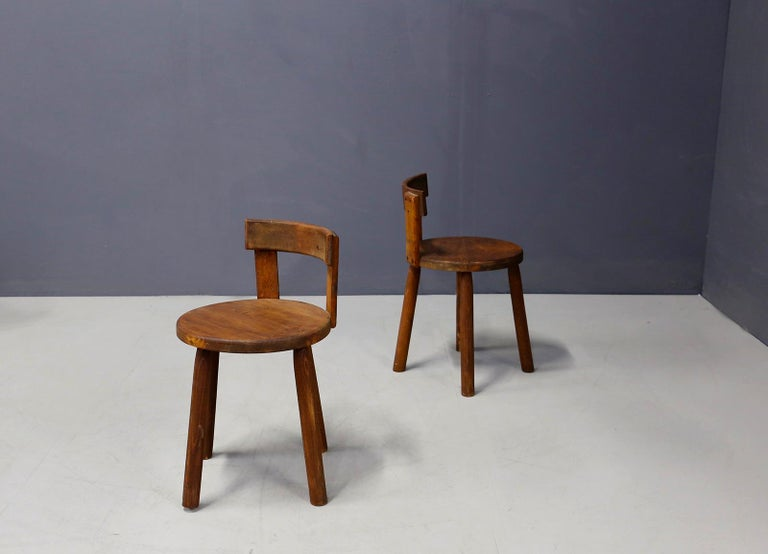 Set of Six French Midcentury Chair, in Wood of 1950s For Sale 2