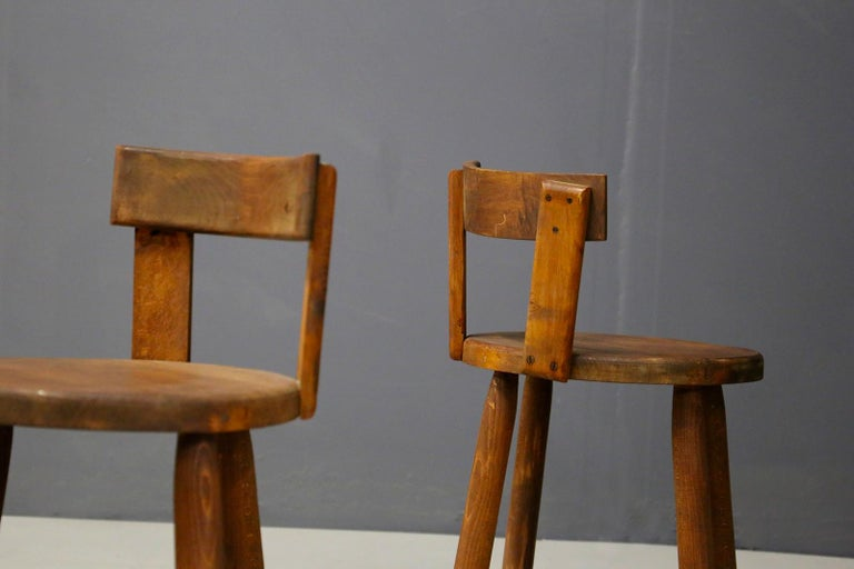 Set of Six French Midcentury Chair, in Wood of 1950s For Sale 3