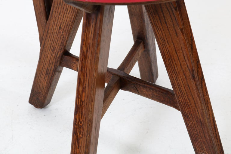 Set of Six French Oak Mid-Century Modern Chairs, 1950s For Sale 6