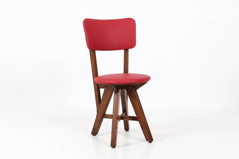 Mid-20th Century Set of Six French Oak Mid-Century Modern Chairs, 1950s For Sale