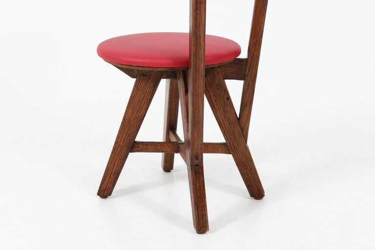Set of Six French Oak Mid-Century Modern Chairs, 1950s For Sale 2