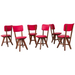 Set of Six French Oak Mid-Century Modern Chairs, 1950s